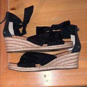 UGG, black ankle tie strap espadrille sandal